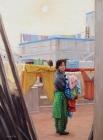 Taking Down the Washing  (My sister Pratibha, Amritsar, India) (2004)